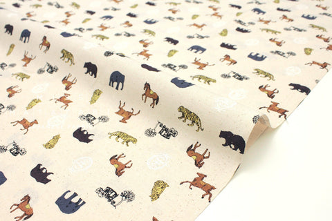 Japanese fabric Animal Mix - natural, grey, mustard, saddle - 50cm