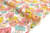 Japanese fabric Juice Box - pink, yellow, blue - 50cm