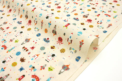 Japanese fabric Space Invaders - natural - 50cm