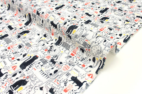 Japanese Fabric Happy Cats double gauze - peach orange, black, yellow - 50cm