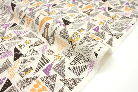Japanese Fabric Forest Friends double gauze - autumn - 50cm
