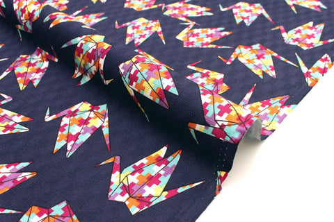 Japanese Fabric Cranes dobby - navy, multi - 50cm