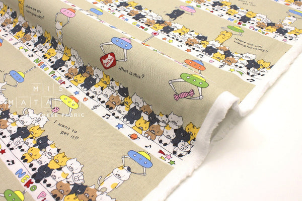 Japanese Fabric - Cat Catcher canvas - beige - fat quarter