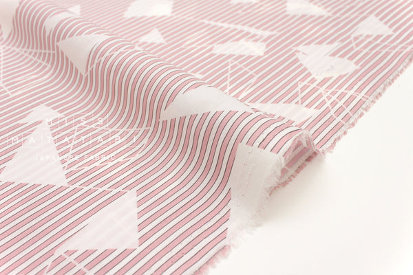 Japanese Fabric Geo Stripes - cotton lawn - pink - 50cm
