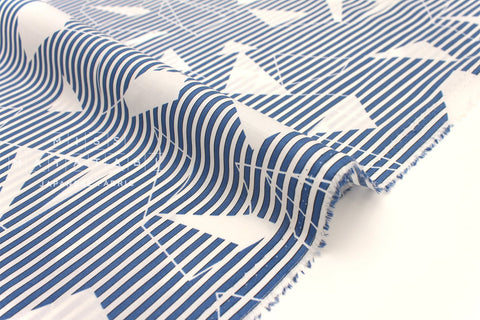 Japanese Fabric Geo Stripes - cotton lawn - blue - 50cm