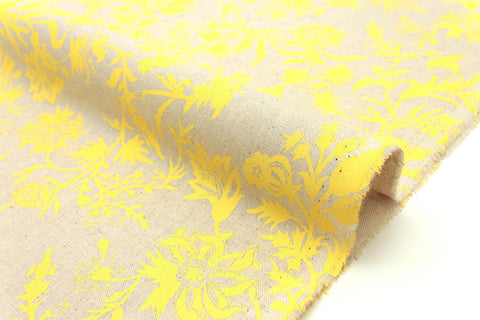 Japanese Fabric Thistle - yellow, natural - 50cm