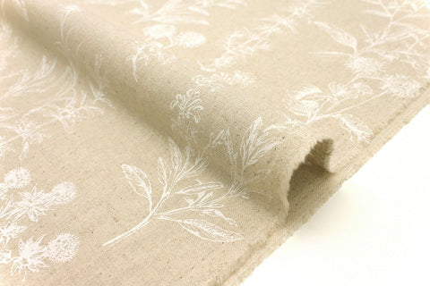 Japanese Fabric Wildflowers - white, natural - 50cm