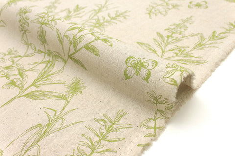 Japanese Fabric Wildflowers - green, natural - 50cm