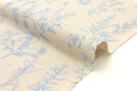 Japanese Fabric Wildflowers - blue, natural - 50cm