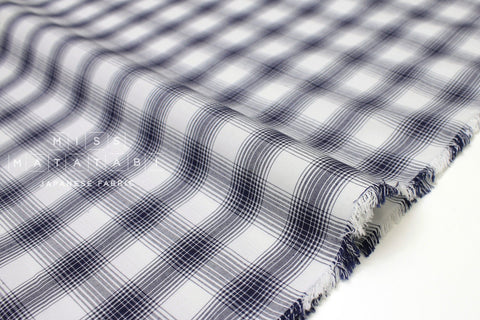 Japanese Fabric - yarn dyed plaid lawn - dar navy, cream - 50cm