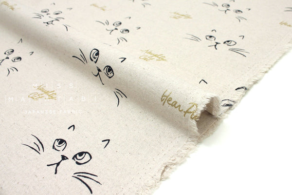 Japanese Fabric Naughty Cat Canvas - natural, metallic gold - 50cm
