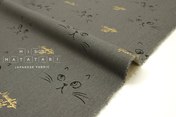 Japanese Fabric Naughty Cat Canvas - grey, metallic gold - 50cm