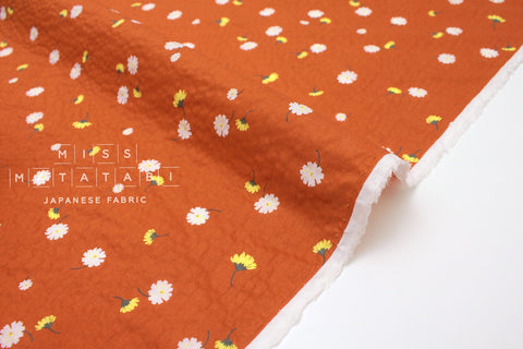 Japanese Fabric Daisy Seersucker lawn - orange - 50cm