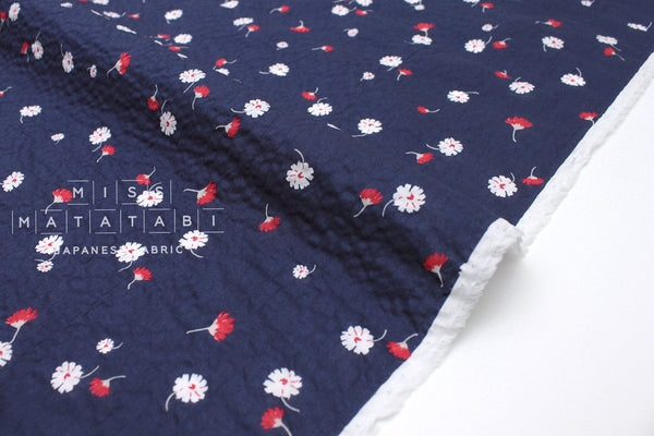 Japanese Fabric Daisy Seersucker lawn - blue, red - 50cm