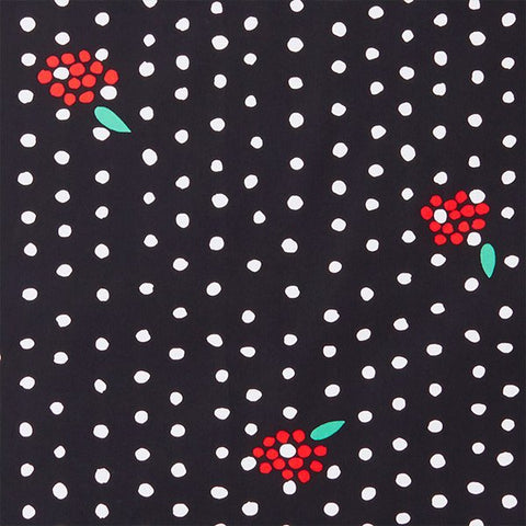 Nani Iro Kokka Japanese Fabric - Naomi Ito x Anu Tuominen - Terttu Pocho - black, red - fat quarter