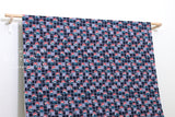 Japanese Fabric Mt Fuij dobby - navy, red - 50cm
