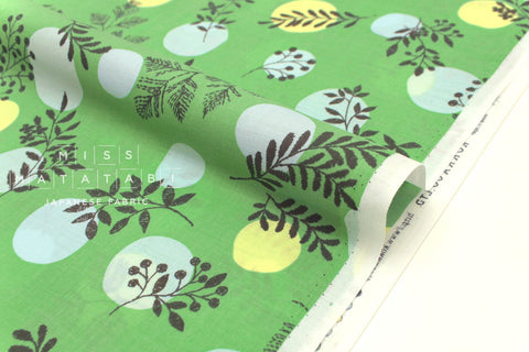 Japanese Fabric Kokka Moon and Leaf lawn - green - 50cm