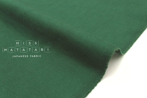 Japanese Fabric 100% brushed linen - green -  50cm