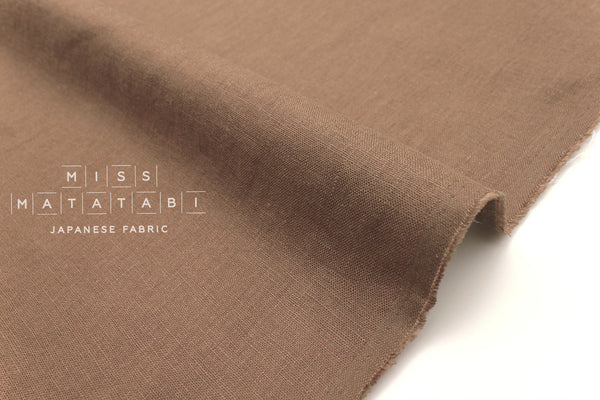 Japanese Fabric 100% brushed linen - cocoa -  50cm