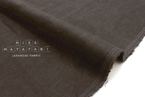 Japanese Fabric 100% brushed linen - charcoal -  50cm