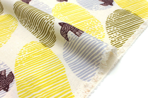 Japanese Fabric Kokka Trefle Cucito Bird Flight double gauze - yellow, grey - 50cm