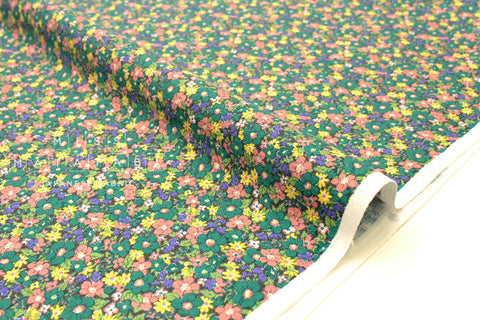 Japanese Fabric Floral Barkcloth - peach, green, yellow - 50cm