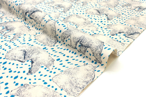 Japanese Fabric Content Bears - cream, blue - 50cm