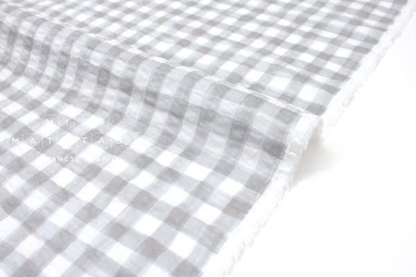 Japanese Fabric Seersucker Gingham lawn - light grey - 50cm