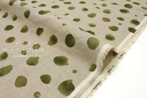 Japanese Fabric 100% linen Watercolor Dots - green -  50cm