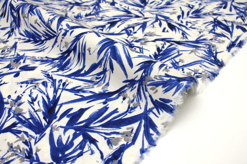 Japanese Fabric Wildflower rayon linen - blue, grey, white - 50cm