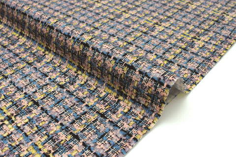 Japanese Fabric Like Tweed - peach, blue, black - 50cm