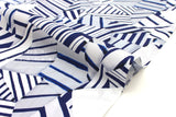 Japanese Fabric Geo Collage - blue, white - 50cm