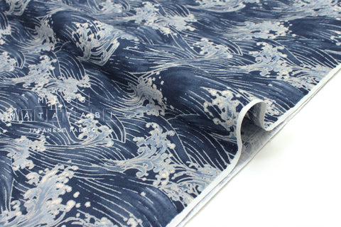 Japanese Fabric Wild Waves dobby - blue - 50cm