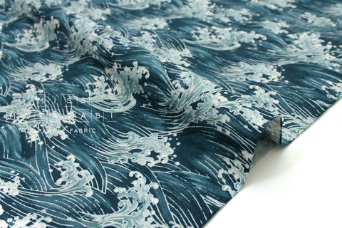 Japanese Fabric Wild Waves dobby - teal - 50cm