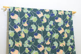 Japanese Fabric Statement Floral rayon lawn - green, peach - 50cm