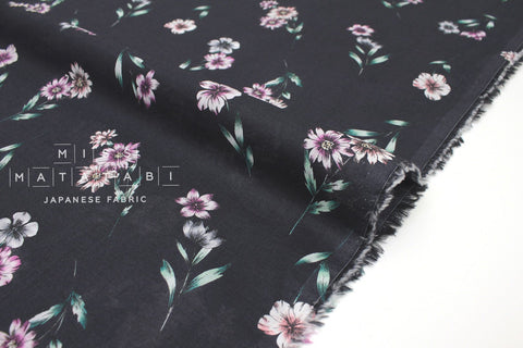 Japanese Fabric Floral Cotton Voile - charcoal, pink - 50cm