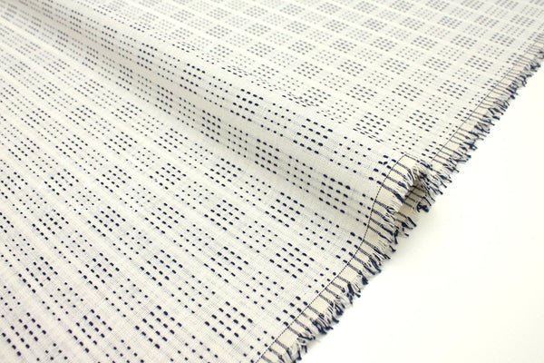 Japanese Fabric - yarn dyed sashiko embroidered cotton - little squares - cream, indigo blue - 50cm