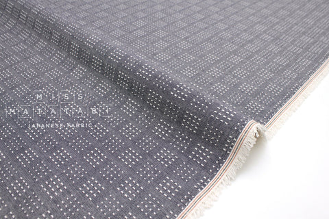 Japanese Fabric - yarn dyed sashiko embroidered cotton - little squares - chambray blue, cream - 50cm