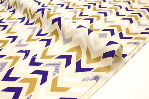 Japanese Fabric Arrows - metallic gold, royal blue, white - 50cm