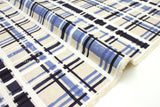 Japanese Fabric Kokka Plaid basket weave - navy, white, blue - 50cm