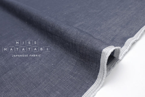 Japanese Fabric Linen Cotton Chambray - denim blue  - 50cm