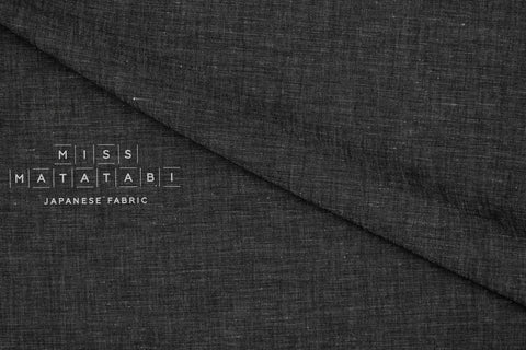 Japanese Fabric Linen Cotton Chambray - black  - 50cm