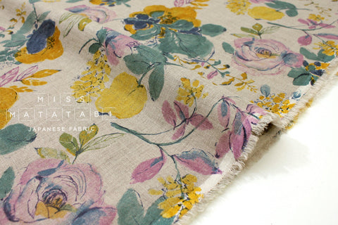 Japanese Fabric 100% linen Bloom - lilac, mustard -  50cm