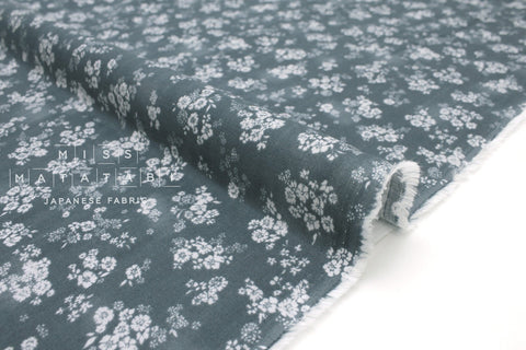 Japanese Fabric Little Daisies double gauze - dark teal - 50cm