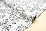 Japanese Fabric White Panther reversible double knit - dark charcoal, ivory - 50cm