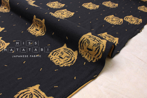 Japanese Fabric Tiger reversible double knit - charcoal navy, mustard - 50cm