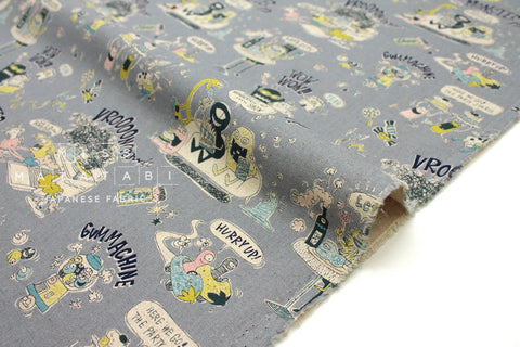 Japanese Fabric Kei Fabric Miyako Monsters - light blue grey - 50cm