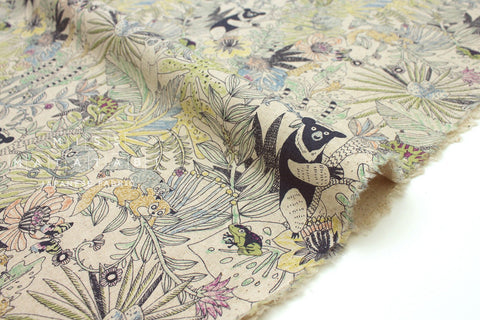 Japanese Fabric Kei Fabric Miyako Sun Bear Jungle - natural - fat quarter
