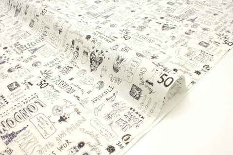 Japanese Fabric Miyako City Love - cream, charcoal - 50cm