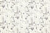 Japanese Fabric Miyako City Love - cream, charcoal - fat quarter